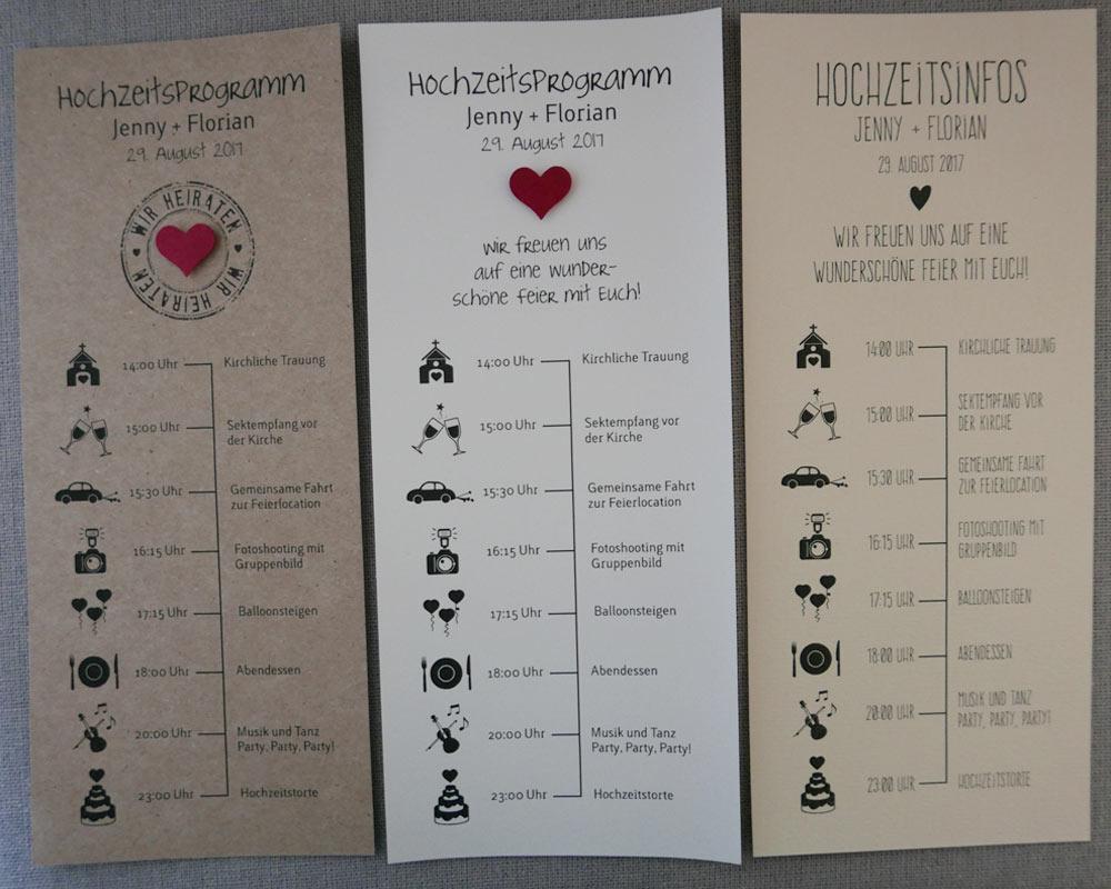 Hochzeitsprogramm / Zeitplan für Ihre Hochzeitsgäste