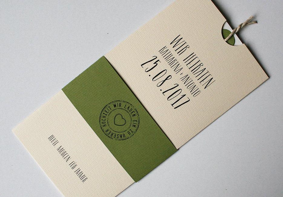 Hochzeitskarte Amira elfenbein-oliv