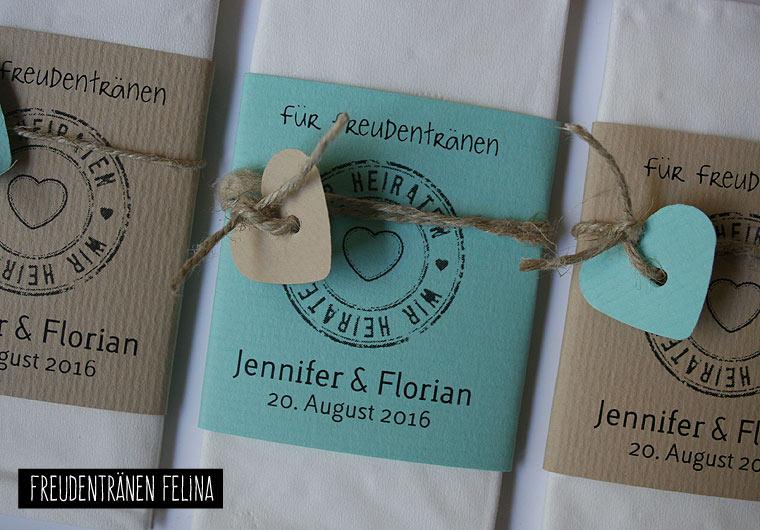 Taschentücher für Freudentränen FELINA creme mint / Tears of Joy Tissues von Aylando Hochzeitskarten
