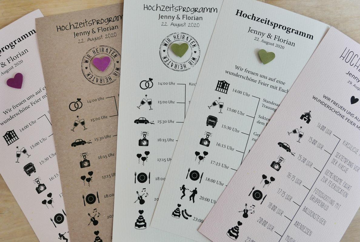 Hochzeitsprogramm / Zeitplan für Ihre Hochzeit /  Im DIN Lang Format