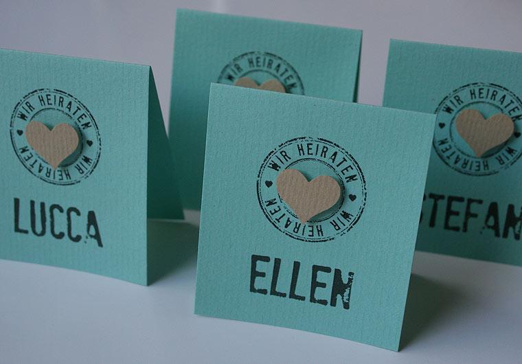 Platzkarten Hochzeit FELINA creme mint