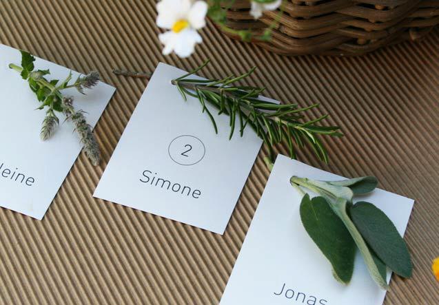 DIY Platzkarten mit Rosmarinzweig, Salbei oder Oregano