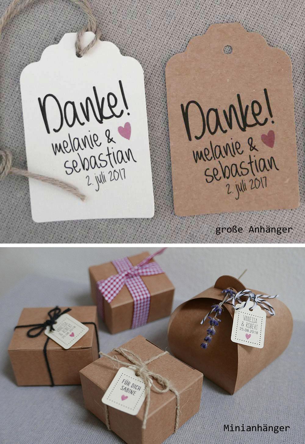 Geschenkanhänger zur Hochzeit - hier: Minianhänger auf Papier naturweiss
