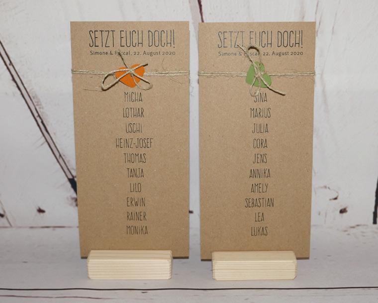Hochzeit Karte Tischnummern / Tischnamen