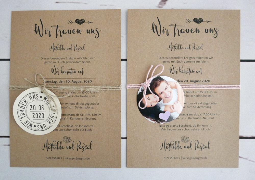 Hochzeitseinladung Kraftpapier VERENA