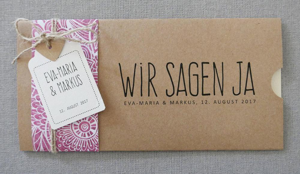 Hochzeitskarten FLORALI aus Kraftpapier mit Banderole im Ethnolook von Aylando Hochzeitskarten