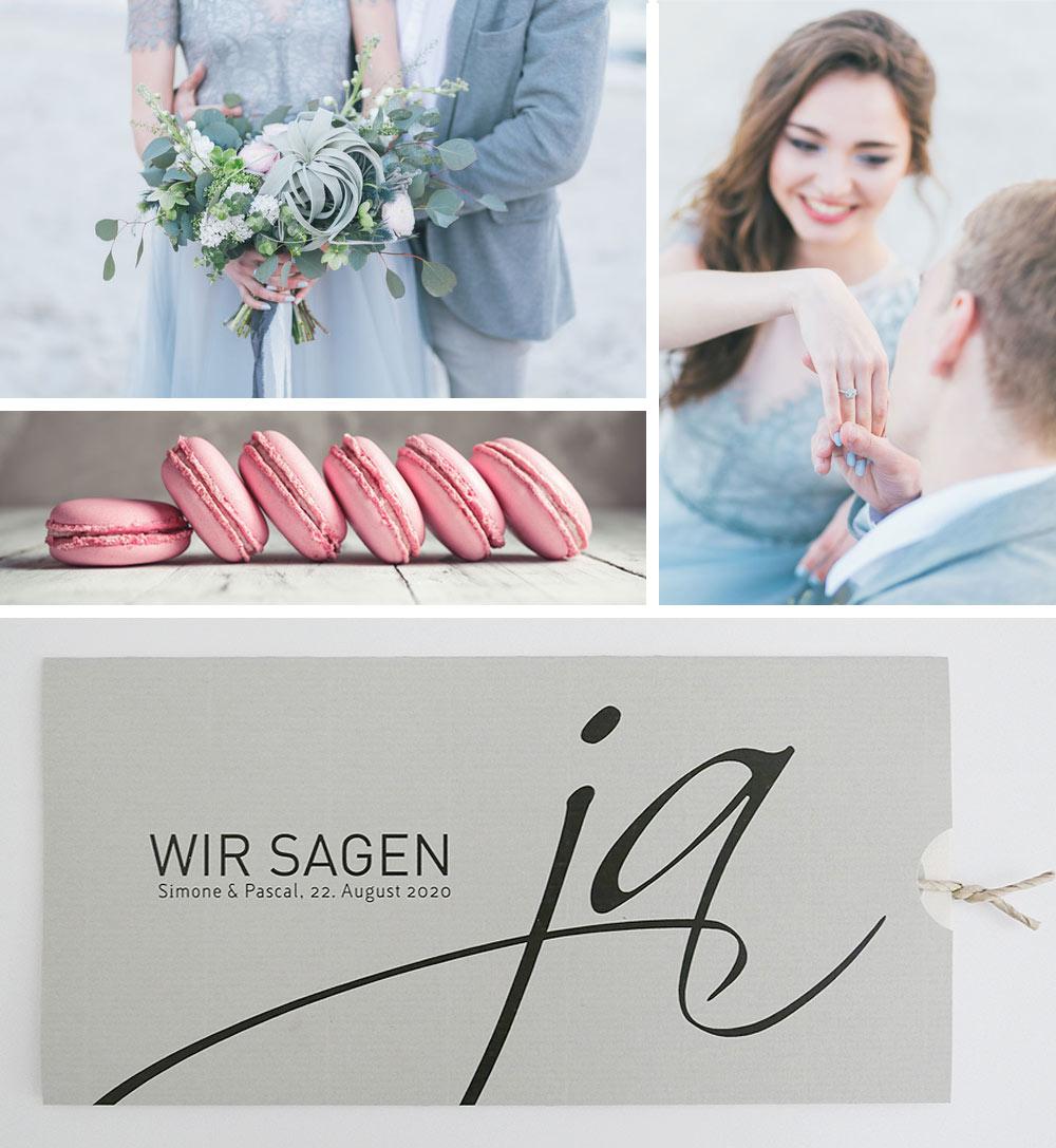 Hochzeitskarte WIR SAGEN JA in grau