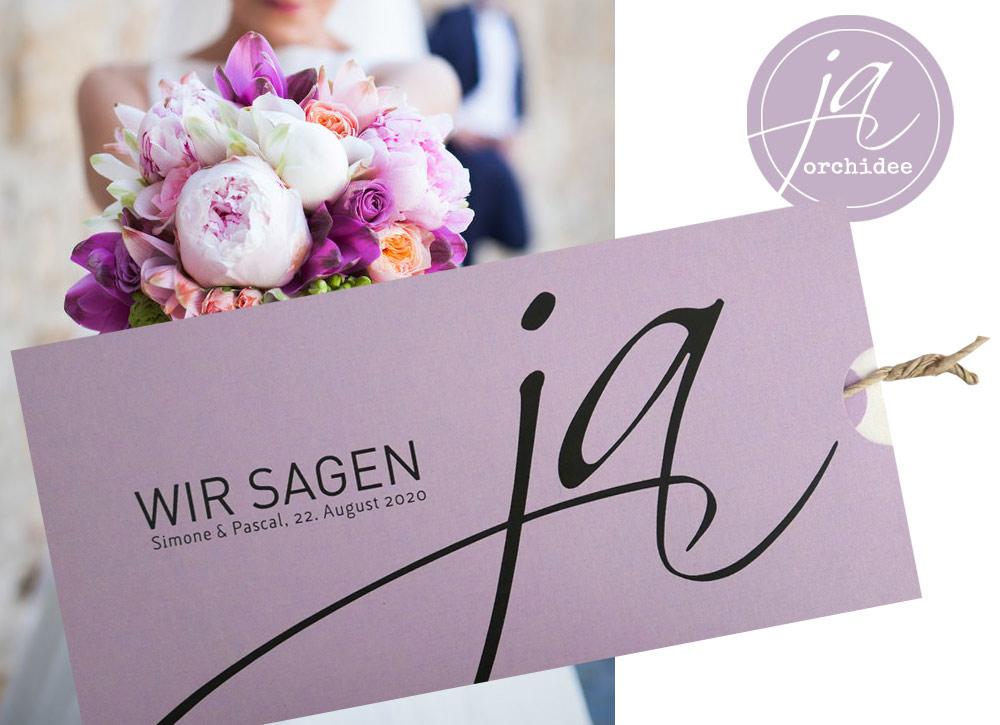 Hochzeitskarte WIR SAGEN JA