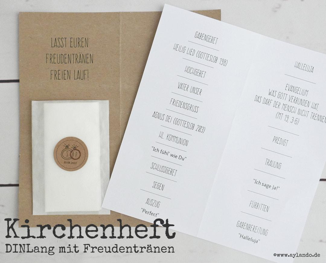 Kirchenhefte aus kraftpapier mit textinlay und freudentränen