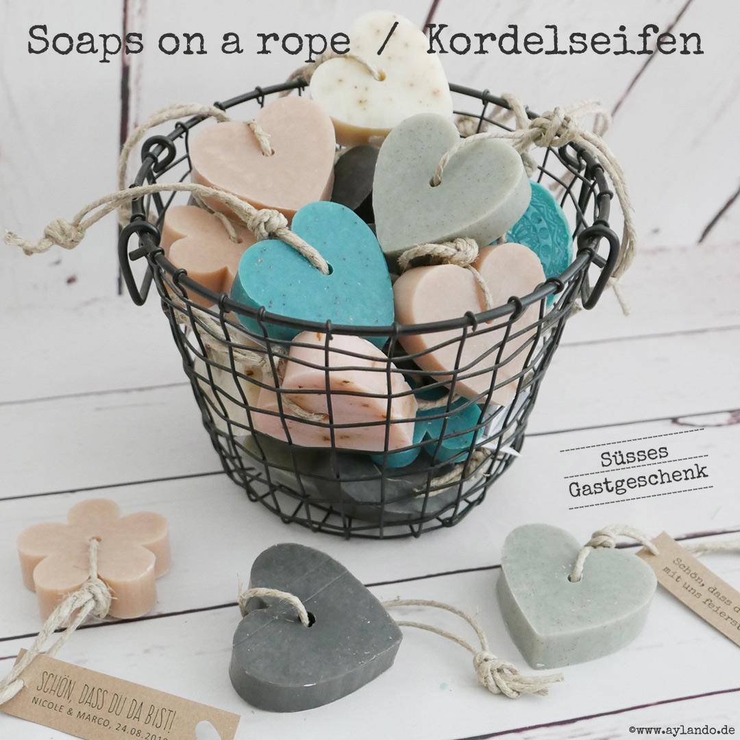 Gastgeschenke Hochzeit -  Kordelseife - soap on a rope
