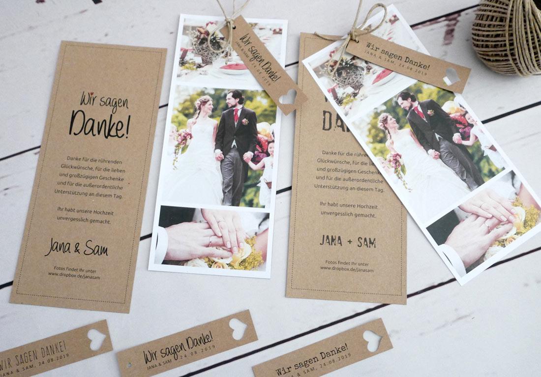 Danksagungskarte Hochzeit Kraftpapier mit Fotostreifen 3-teilig