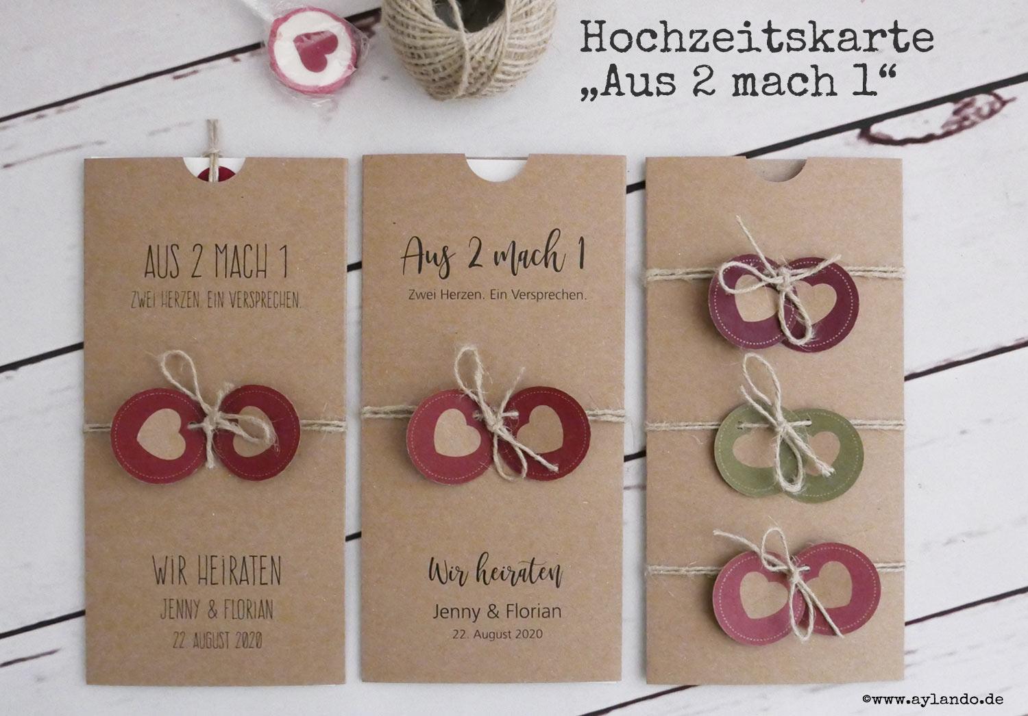 """Hochzeitskarte """"Aus-2-mach-1"""" aus Kraftpapier mit 2 farbigen Herzen"""