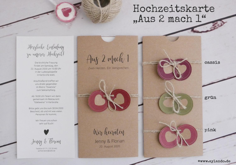 """Hochzeitskarte """"Aus-2-mach-1"""" aus Kraftpapier mit Texteinlage"""