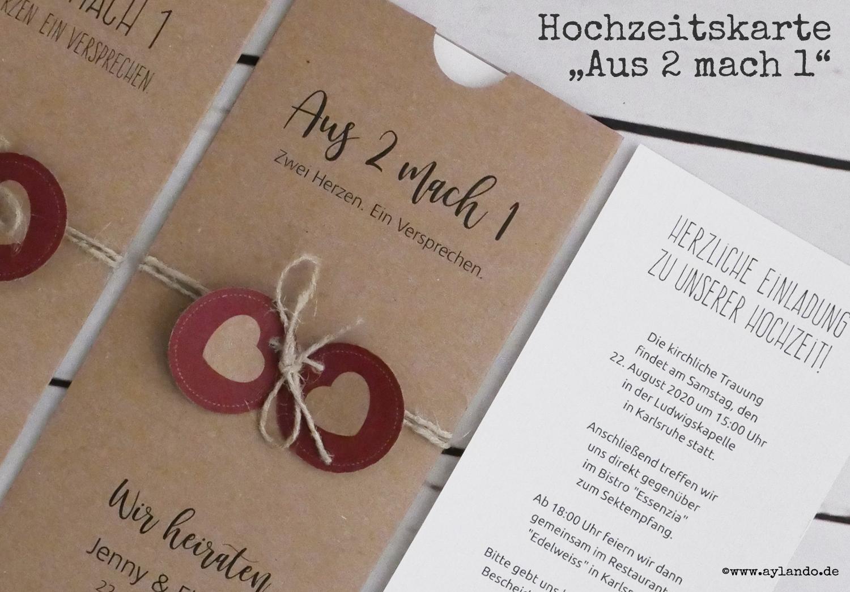 """Hochzeitskarte """"Aus-2-mach-1"""" aus Kraftpapier. Detailansicht: Texteinlage mit Kordel"""