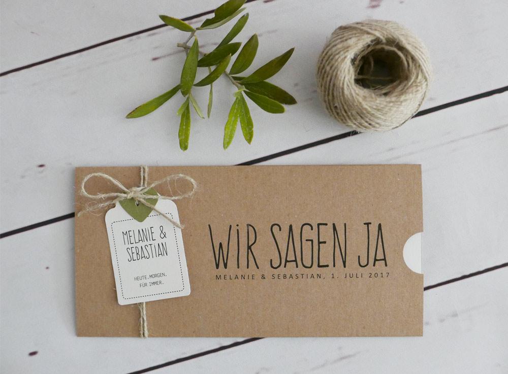 Hochzeitseinladung Hochzeitskarten aus 100% Kraftpapier