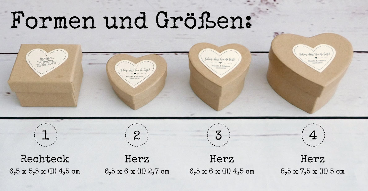 Boxen / Schachteln aus Pappe als Rechteck und Herz in verschiedenen Größen