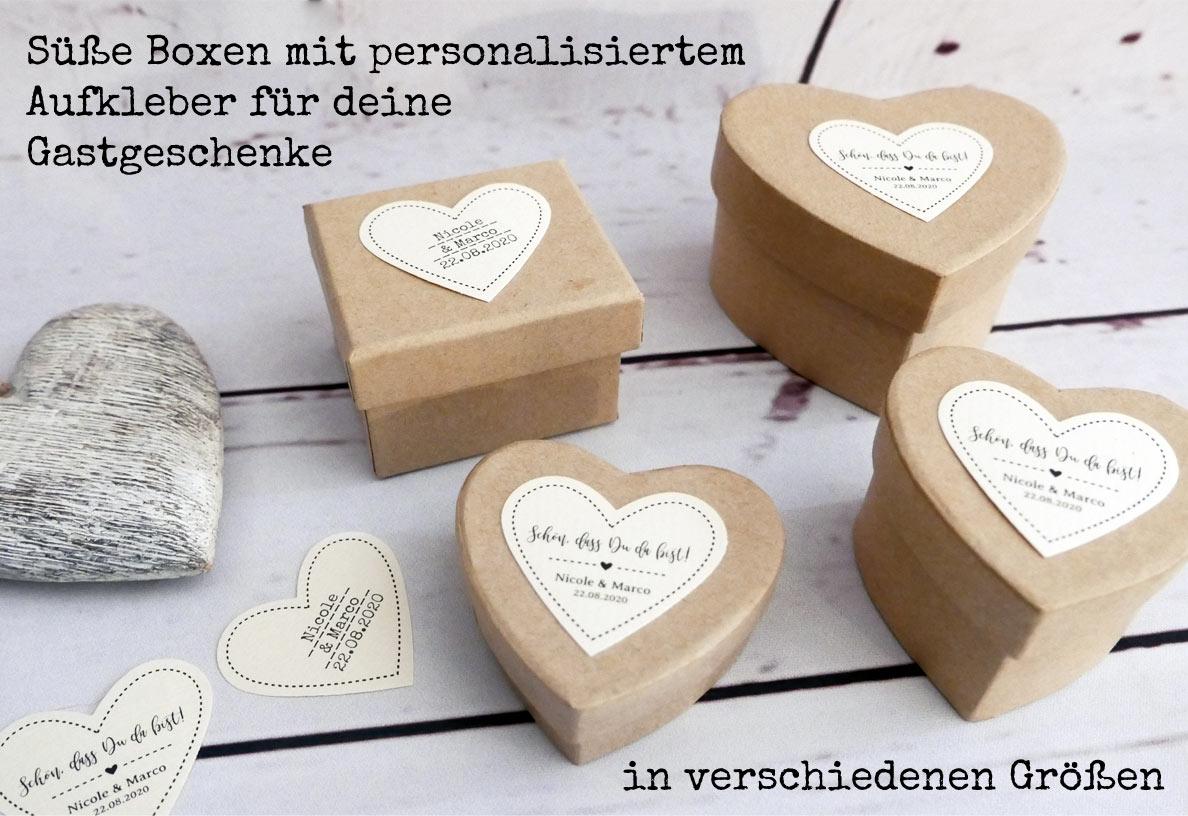 Boxen / Schachteln aus Pappe in Herzform und Rechteckform