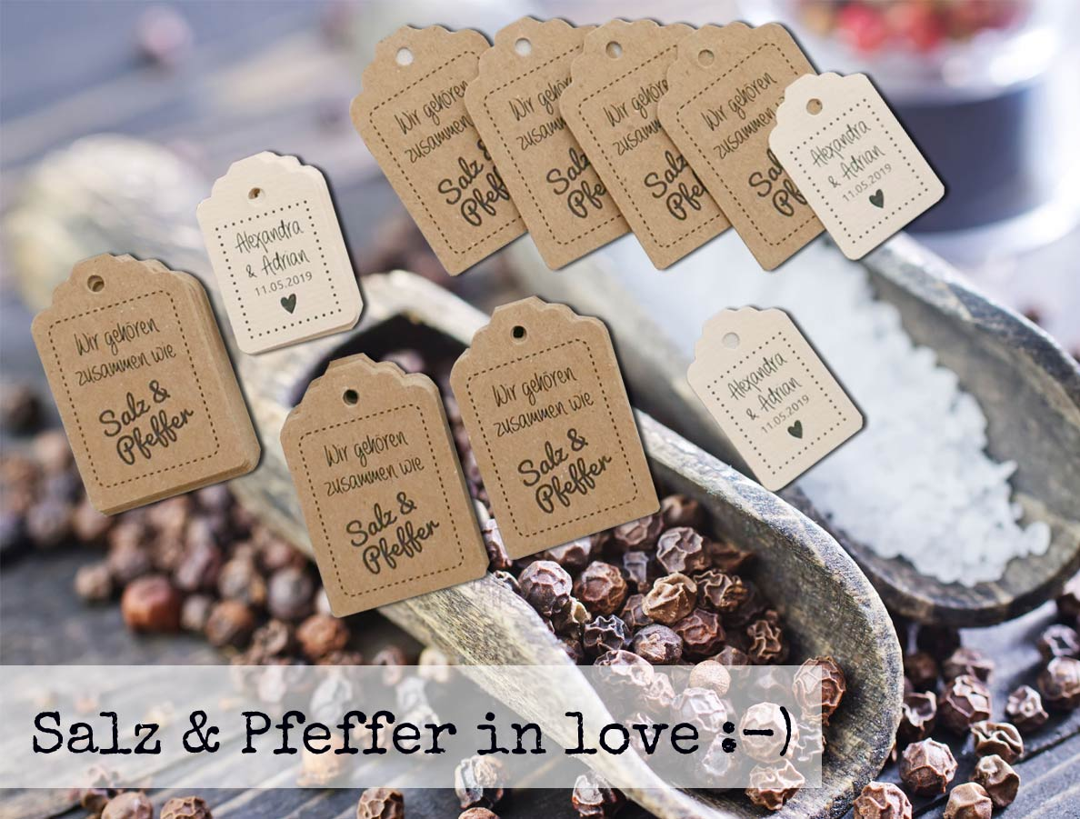 Süße Anhänger aus Kraftpapier für Gastgeschenke: Salz und Pfeffer