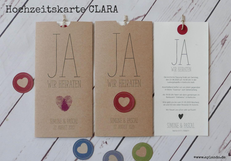 Hochzeitskarte CLARA aus Kraftpapier
