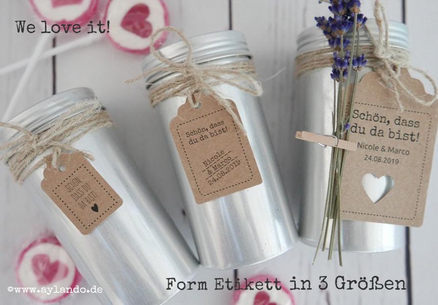 Geschenkanhänger für Gastgeschenke zur Hochzeit aus echtem Kraftpapier in 3 Größen erhältlich