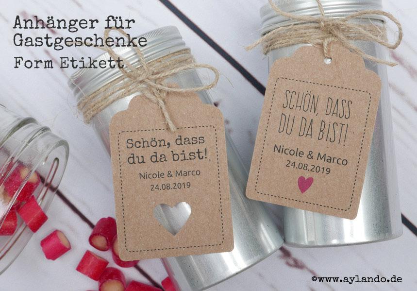 Geschenkanhänger für Gastgeschenke zur Hochzeit aus echtem Kraftpapier! Form Etikett mit ausgestanztem oder gedrucktem Herz.