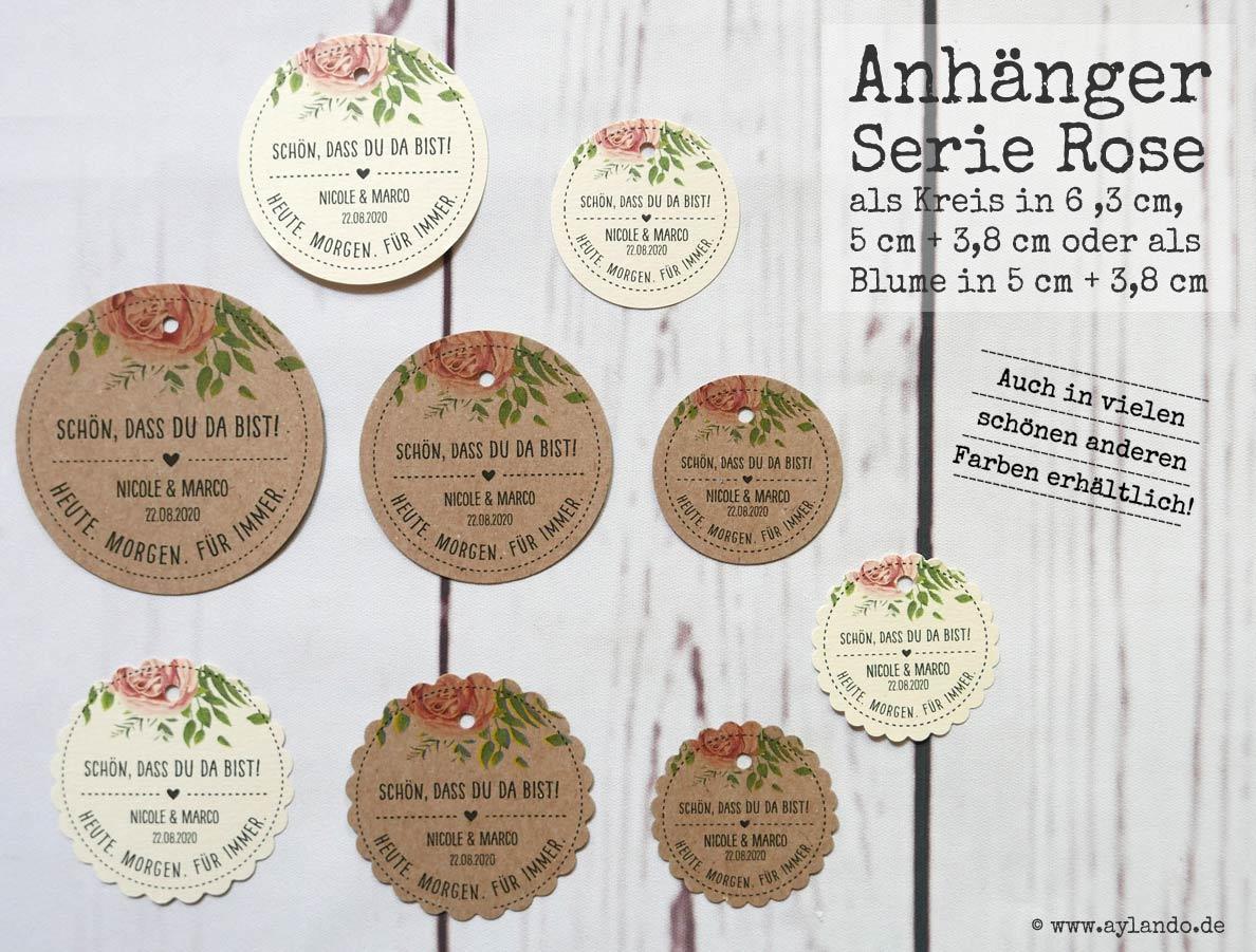 personalisierte Geschenkanhänger mit Namen und Datum (Motiv Rose)