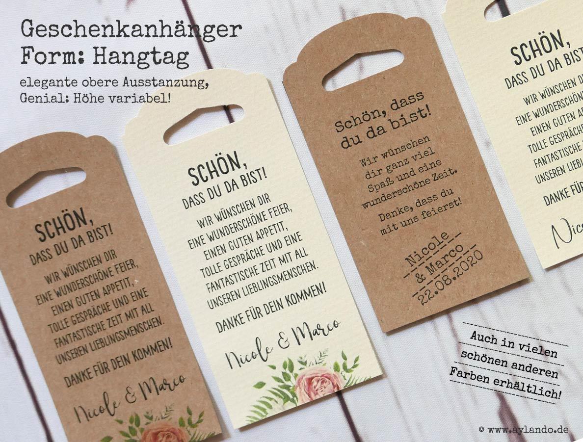 personalisierte Geschenkanhänger (Hangtags) mit variabler Höhe und eleganter oberer Ausstanzung