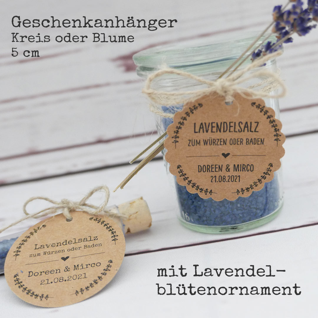 Geschenkanhänger für Lavendelsalz mit Lavendelblütenornament