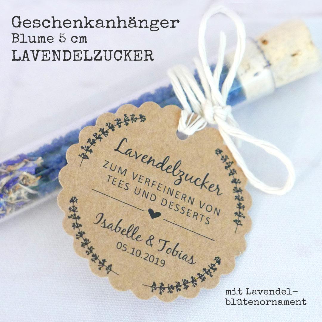 Geschenkanhänger aus Kraftpapier Lavendezuckerl