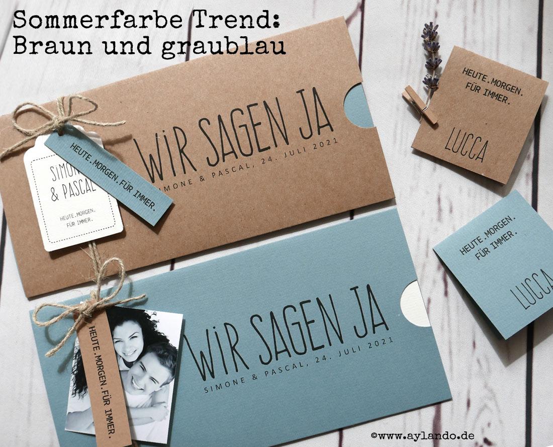 Sommerfarbe Trend Hochzeitskarte HEAVN Kraftpapier und bluegrey