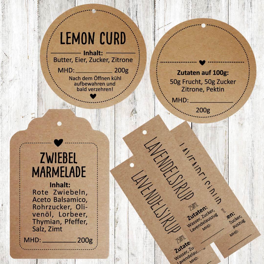 Kraftpapier Anhänger für Marmeladen, Lemon Curd oder Sirup
