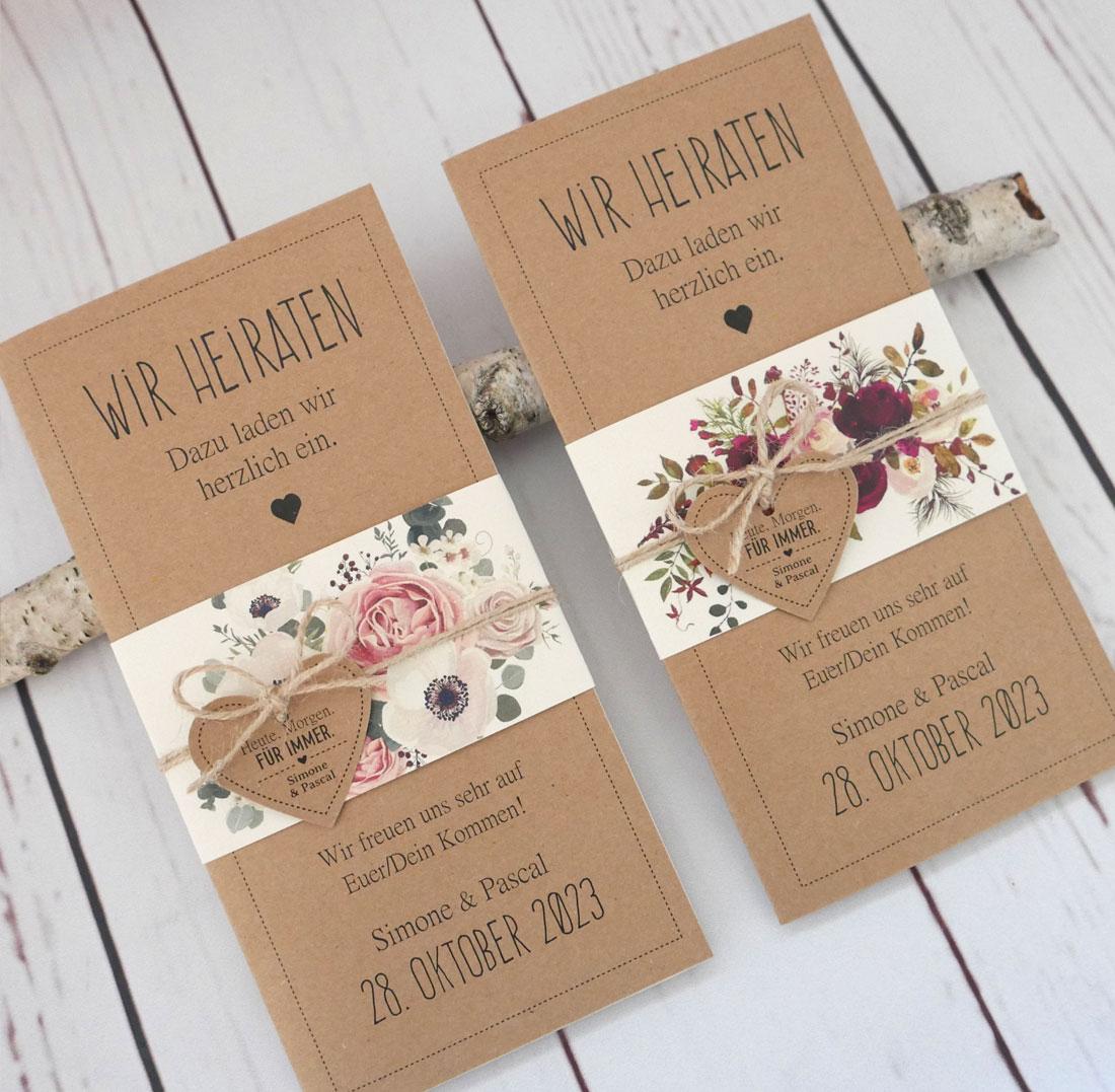 Hochzeitskarte aus Kraftpapier mit Banderole im floralen Design: Sommerliebe und Herbstzauber